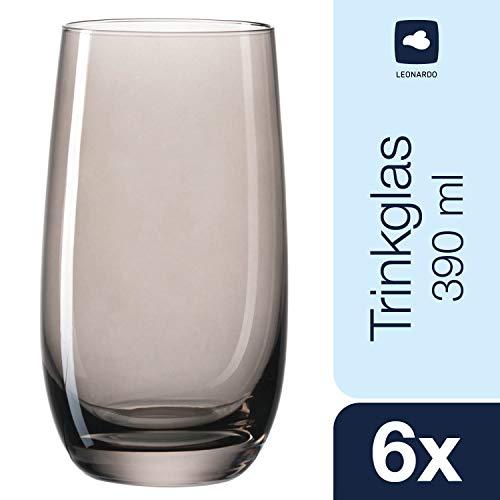 Leonardo Sora Becher groß Basalto, 6-er Set, 390 ml, hellgraues Kristall-Glas mit Colori-Hydroglasur, 018042