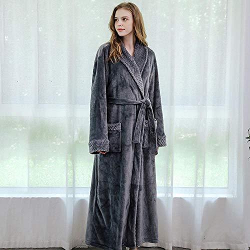 Bayue damesbadjas van flanel, lang, XL, dik, voor dames en heren