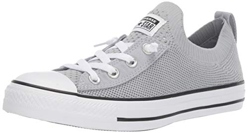 Converse Women's Chuck Taylor Shoreline Knit All of The Stars Sneaker, Wolf Grey/White/Black, 7.5 M US