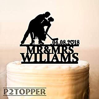 Wedding Hockey Cake Topper,Hockey Wedding Cake Topper With Date,Hockey Theme Wedding,Hockey Fan Wedding,Hockey Party Cake Topper