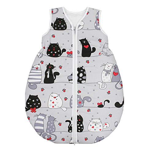 TupTam Unisex Baby Schlafsack ohne Ärmel Wattiert, Farbe: Katzen Grau/Schwarz, Größe: 62-74