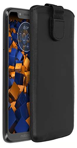 mumbi Echt Ledertasche kompatibel mit Motorola Moto G7 Play Hülle Leder Tasche Hülle Wallet, schwarz