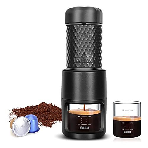 Portable Espresso Maker - STARESSO Mini Coffee Maker Using Ground Coffee & Espresso Pods, Manual Espresso with Rich & Thick Crema, Handy Espresso Maker for Travel Camping Office Home Use