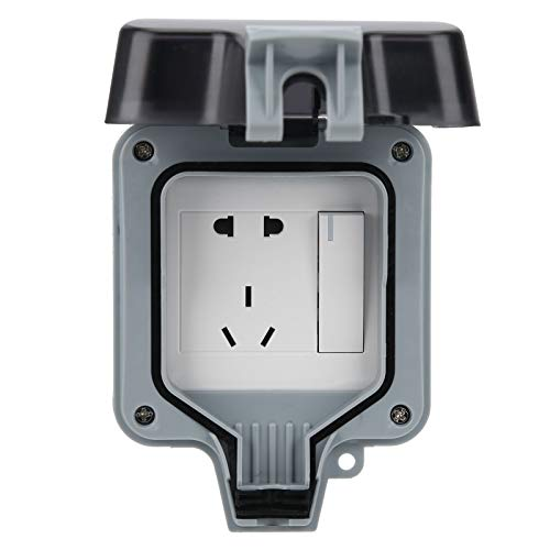 Toma de corriente a prueba de agua 220V 1 posición 5 agujeros, toma de pared exterior, con 2 agujeros + 3 agujeros + interruptor. Para estacionamiento, sitio de construcción