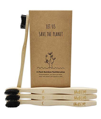 TheBDM Spazzolini da denti in bamboo naturale ecologico biodegradabile antimuffa - setole in carbone vegetale, senza BPA, vegan, confezione sostenibile (Setole Morbide)