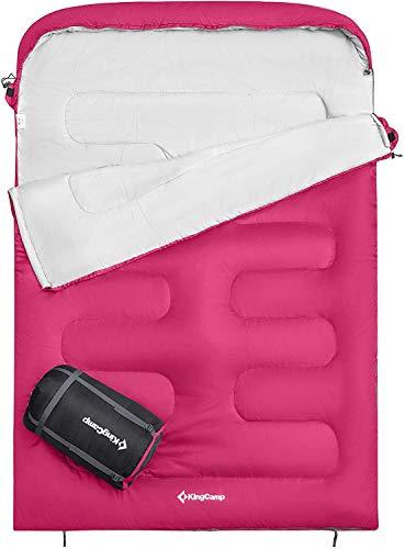 KingCamp Saco de Dormir Ultraligero de Rectangular para Adultos Dobles Camping Montaña Portátil Bolsa de Compresión Verano Grande 235 x 160cm