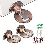 Kamiya Fermaporta Magnetico 2 Pezzi Fermaporta in metallo fermaporta a pavimento con viti a scomparsa autoadesive 3M (Oro rosa)