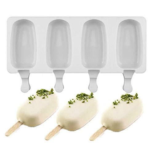 Silicona de grado alimenticio, no tóxica, sin olor y no es fácil de deformar. Diseño de 4 orificios, liso y elegante, fácil de desmoldar. Transforma jugo, fruta, yogur en deliciosos bocadillos congelados. Adecuado para helados, paletas de hielo, cubi...