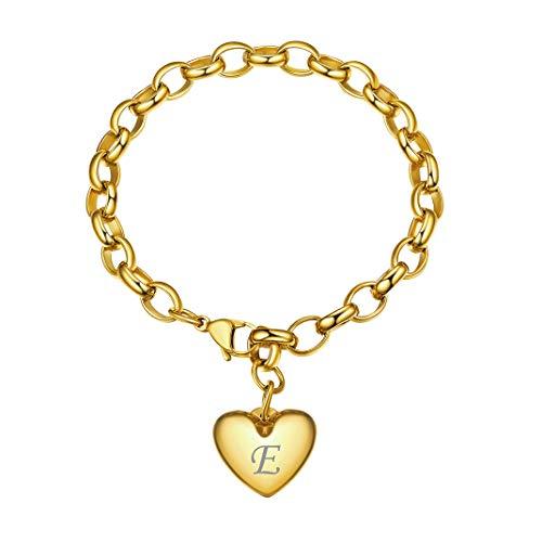 GoldChic Jewelry Edelstahl Perlenkette Armband mit 1-5 Herz Anhänger Personalisiert Herzanhänger Armband mit Wunsche Gravur,Einstellbar Armband 15.5-22 cm als Geschenker für Damen/Freundin/Mutter