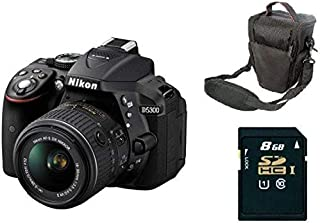 Nikon D5300 DSLR Camera 24.2 MP 3.2 inches LCD Black with 18-55mm Lens Kit with Bag and 8 GB SD Card