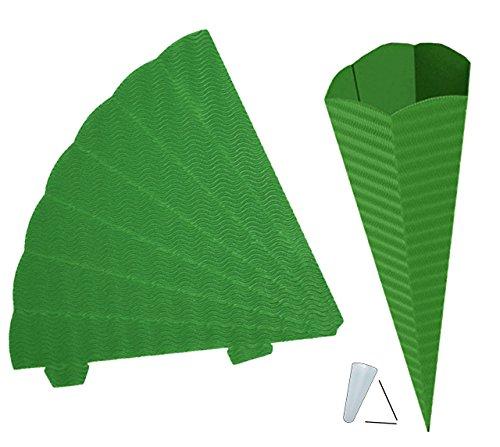 alles-meine.de GmbH Schultüte - Rohling Wellpappe - grün / dunkelgrün - 70 cm - mit / ohne Kunststoff Spitze - Zuckertüte zum selber Basteln - 6 eckig - Bemalen und Bekleben Bast..