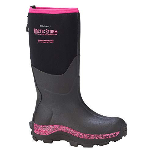 DRYSHOD Womens Arctic Storm Extreme-Cold Conditions Winter Boot, Black/Pink, 9