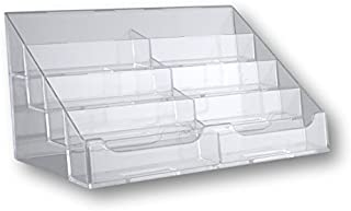 T'z Tagz Brand Clear Acrylic 8 Pocket Countertop Business Card Holder