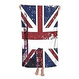 Grande Suave Toalla de Baño Manta,Símbolos de Londres Inglaterra Reino Unido Cabina de teléfono roja Big Ben y la Bandera nac,Hoja de Baño Toalla de Playa por la Familia Hotel Viaje Nadando,32' x 52'