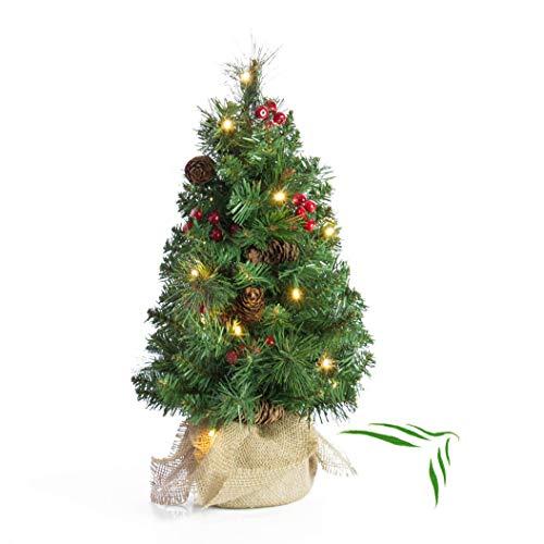 artplants.de Mini Albero di Natale BUKAREST con LED, Decorato, 75 Rami, 45cm, Ø 25cm
