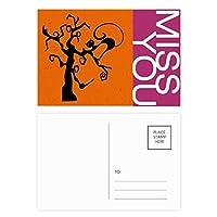 猫は木のハロウィンに ポストカードセットサンクスカード郵送側20個ミス