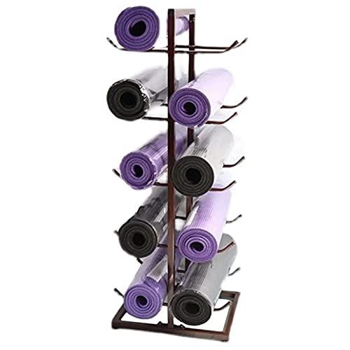LXLA Soporte para Esterilla de Yoga Doble Cara Estante para Esterillas De Yoga De Pie, 5 Niveles Color Cobre Metal Soporte De Rodillos De Espuma, Colchonetas Pilates Organizador De Almacenamiento