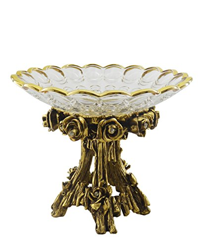 Three Star Golden Tree Stump Stand Rimmed Glass Decorative Bowl, Gold