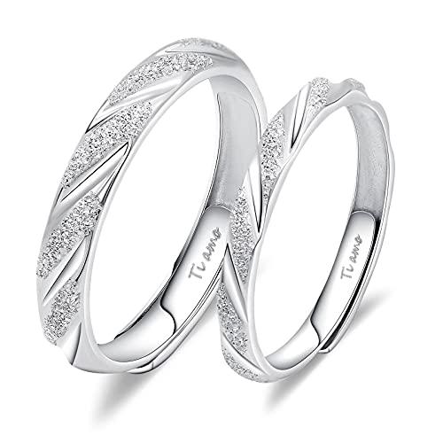"""2 anillos de compromiso con texto """"I Love You"""", de plata 925, ajustable, alianzas de boda,"""
