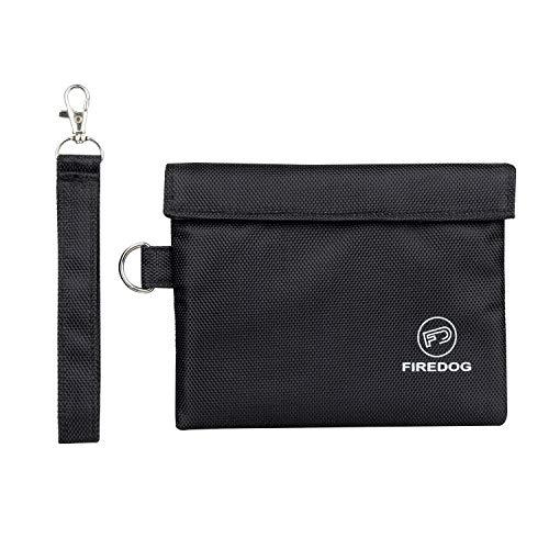 Firedog Geruchssichere Tasche, geruchsdicht, mit Carbon-Futter, 17,8 x 15,2 cm, geruchssicher, für Reisen, Schwarz