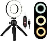 N / A Ringlight Flashes 4.6 Inch LED Ring Light Lamp 3 Light Modes & Dimmable Brightness with Mini Tripod Stand Selfie Ringlight (Color, Black, Size, 4.6 Inch),Black,4.6 Inch