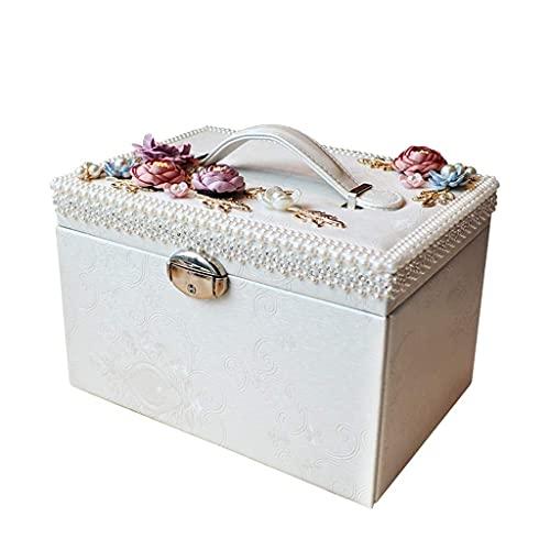 Joyero Joyero con Estampado de PU Tela flocada Pasta de Mano Perla Gran Capacidad Caja de Almacenamiento de Lujo Pendiente Collar Joyero Organizador de Joyas (Color: Blanco)