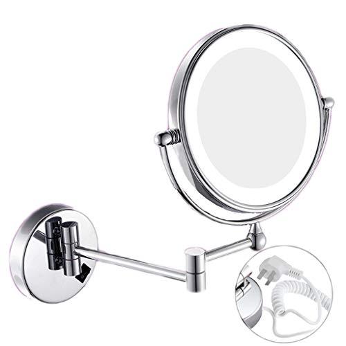 Miroir de maquillage LHY à LED Salle de Bains Rechargeable avec Miroir Lumineux Miroir de courtoisie Fixation Murale Pliable Double loupe La Mode (Color : Silver)