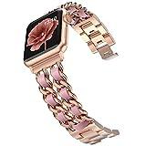 Wearlizer - Cinturino di ricambio per Apple Watch Band 38 mm 40 mm per donna, iWatch Dressy, in acciaio inox, cinturino di ricambio per Apple Watch serie 6 5 4 3 2 1/SE oro + rosa