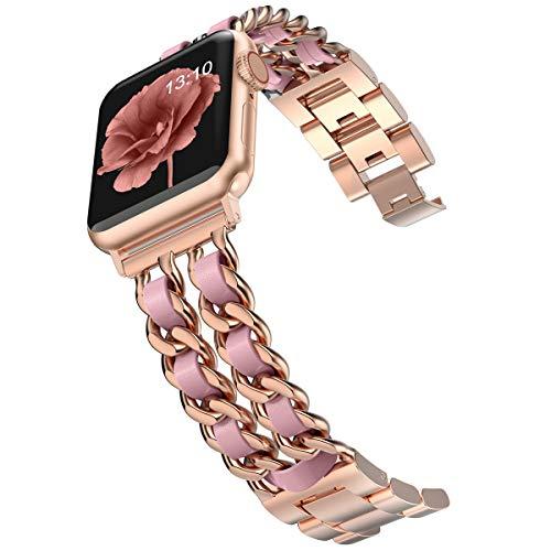 Wearlizer - Cinturino di ricambio per Apple Watch Band 42 mm 44 mm per donna, iWatch Dressy, in acciaio inox, cinturino di ricambio per Apple Watch serie 6 5 4 3 2 1/SE oro + rosa
