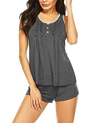 MAXMODA Womens Pajamas Set Soft 2 Piece Sleepwear Lounge Grey