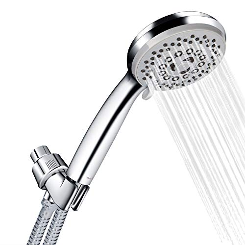"Chrider Handheld Shower Head with Hose High Pressure 5 Spray Settings Massage Spa Detachable Hand Held ShowerHead 4"" Face and 60"" Hose with Adjustable Bracket, Chrome Handle Finish"