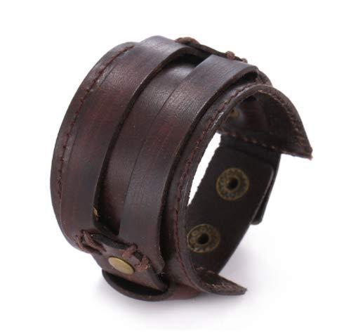Moda Hombres Pulsera de Cuero Pulsera Abierta Cuerda Brazaletes y Pulsera Doble Ancho Black Brown Color Vintage Unisex Jewelry,w