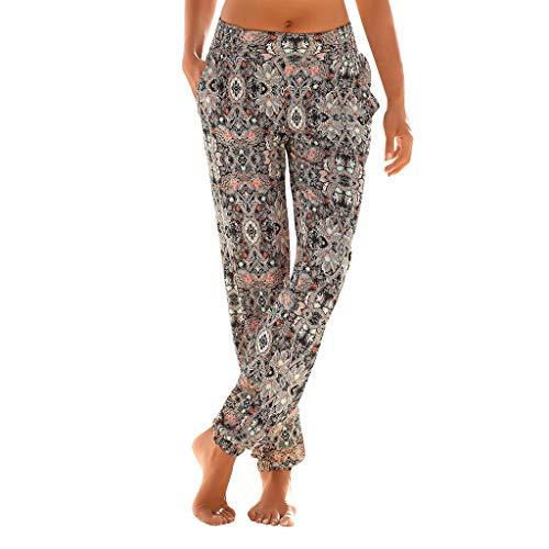 Pantalon Femme Fluide,ITISME Sarouel Femme Bohême Taille Haute Impression de Pantalons Taille Elastique Faciles Pantalons Longs Sablonneux Pantalon De Plage avec Poche