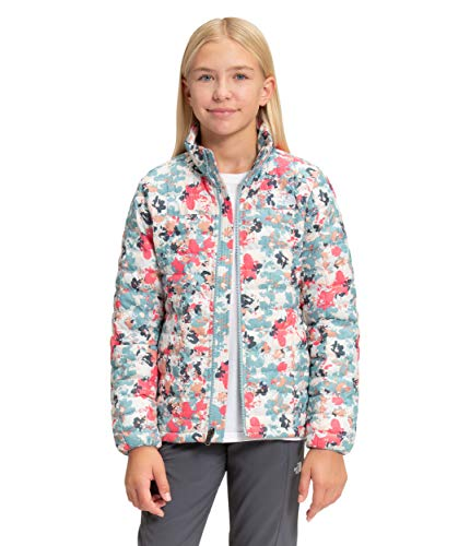 The North Face Girls' ThermoBall Eco Jacket, Tourmaline Blue Multi Floral Camo Print, XS