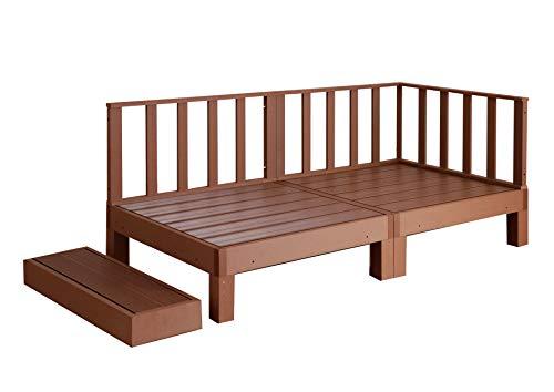 ウッドデッキ 腐らない ガード 柵 踏み台 連結可能 縁側 庭 縁台 人工木 シンプル デッキ DIY ガーデンデッキ ガーデンベンチ ウッドパネル 頑丈 屋外 ベランダ 樹脂 (5点セット, BRブラウン)