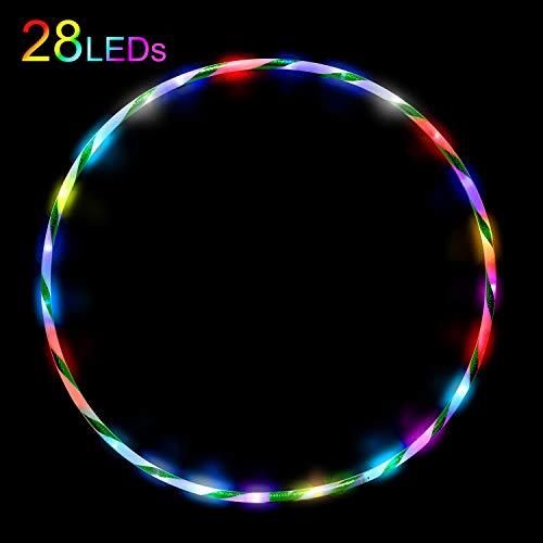 Led Hula Hoop Reifen für Kinder ab 6 Jahre und Erwachsene Fitness Tanzen Übung Gewichtsreduktion Glühen Aufhellen Led Hula Hoops 10 Farben Strobing Ändern Multiple Light 90cm(Ohne Batterie)