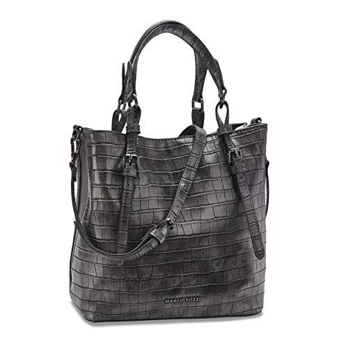 MARCO TOZZI Damen Handtasche 2-2-61027-25, DK.Grey Croco, 1 EU