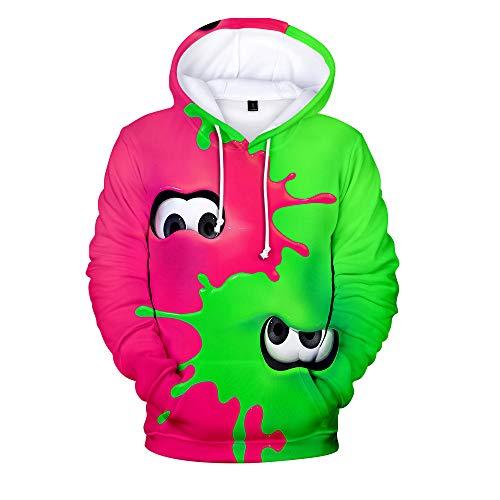 Rkjhgiikjf Splatoon Pullover Kapuzenpullover Trendy Hoodie Karikaturdruck Beiläufiger Pullover Loses Sweatshirt Sportoberteile Unisex (Color : A06, Size : XL)