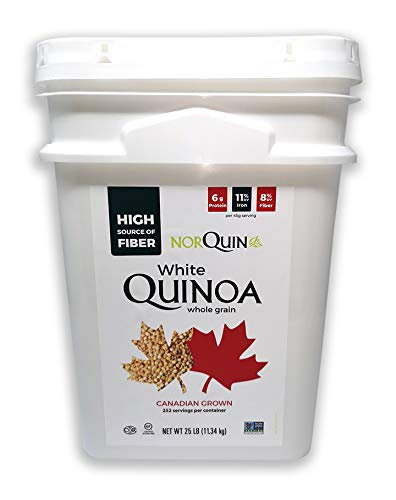 NorQuin White Quinoa Pail 252 Servings / 25 lbs - Big Bulk Bucket Great For Food Storage, Restaurants & Wholesale - Perfect Rice & Grain Alternative - Kosher Certified, Gluten Free, Non-GMO