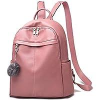 Barsine Women Purse Vegan Leather Zipper Pockets Fashion Backpack (Pink)