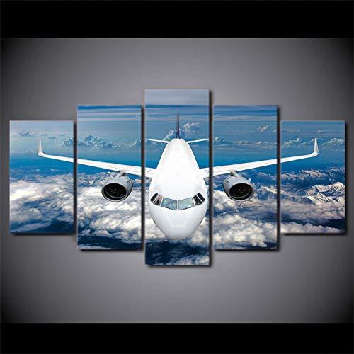 TIANJJss 5 foto's op canvas schilderij huisdecoratie muurkunst modulair 5 stuks hemelsblauw wolk witte afbeeldingen vliegtuigen voor woonkamer