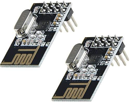 TECNOIOT 2pcs NRF24L01 2.4GHz Wireless Transceiver Module For Arduino Microcontroller | 2pcs NRF24L01 2.4GHz Wireless Module for Arduino, ESP8266, Raspberry Pi, etc.