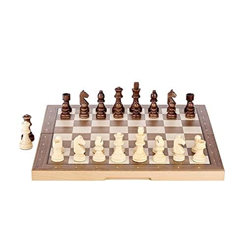 Juego de adornos de ajedrez de lujo para juegos de mesa, juegos de mesa plegables de viaje, regalos portátiles para niños y adolescentes (color de madera maciza)