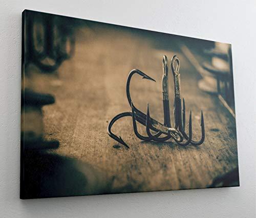 Alter Angel Haken Angeln Leinwand Bild Wandbild Kunstdruck L1018 Größe 70 cm x 50 cm