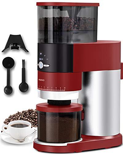 ENZOO Konische Kaffeemühle, elektrische Kaffeemühle mit abnehmbarem Design für einfache Reinigung, 40 präzise Mahlstufen für Espresso, Tropfkaffee, Französische Presse und Perkolator Kaffee (rot)