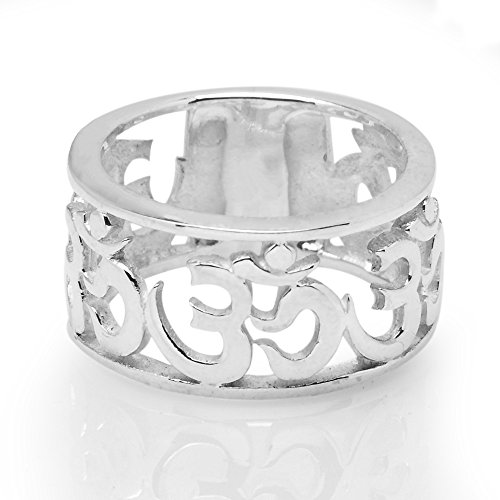925 Sterling Silver Cut Open Aum Om Ohm Sanskrit Symbol Polished Finish Unisex Band Ring Size 6