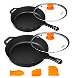 Cast Iron Skillet Set 10 Inch &12 Inch, Preseasoned Cast Iron Skillets With Lid, Iron Skillets for Cooking with Silicone Handle & Scrapers, 10' & 12'