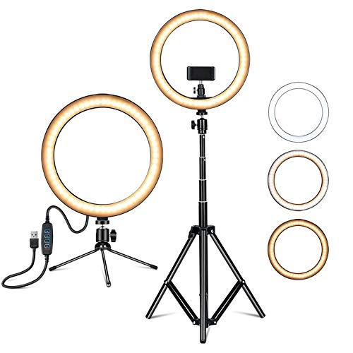 Amconsure LEDリングライト高安定性 三脚スタンド+卓上スタンド 照明撮影用ライトセット 10in/3色モード/10輝度調光 3000K-5600K 補助光 自撮り写真/美容化粧/Youtube/tiktok/ビデオカメラ撮影用(日本語説明書)