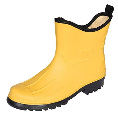 Bockstiegel Herren Jungen Gummistiefel Peter Regenstiefel Stiefelette, Farbe:Gelb, Größe:44 EU