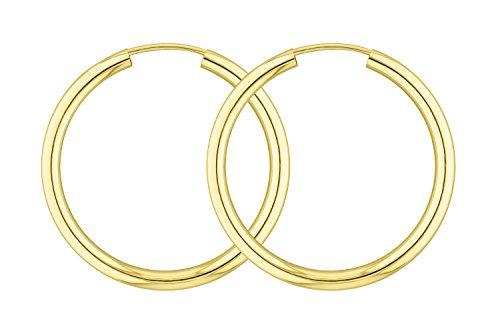 Ohrringe, Creolen, Gelbgold 333 / 8K, Außendurchmesser 30 mm, Breite 2.5 mm, Gewicht ca. 1.5 g, NEU